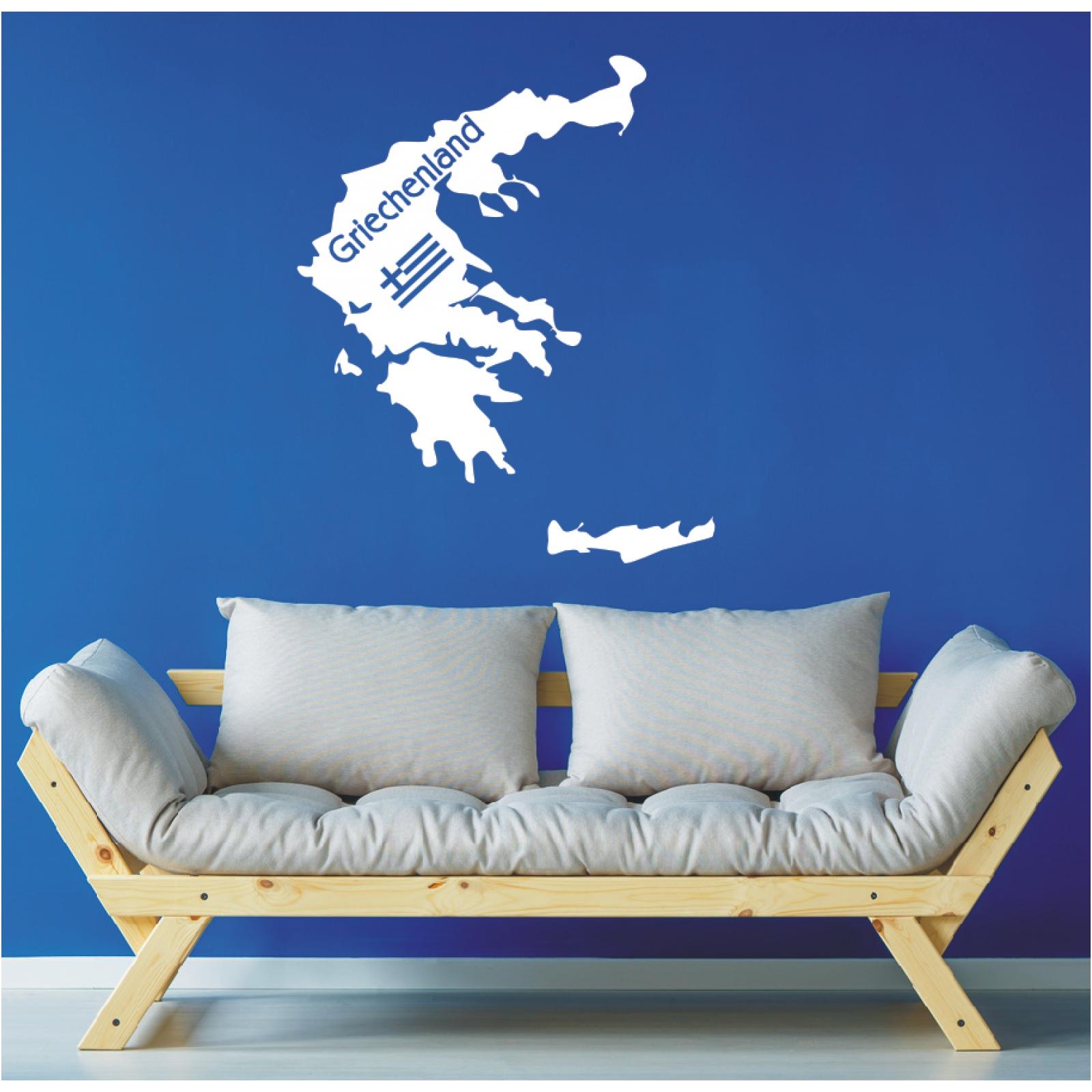 Landkarte Wandtattoo  Griechenland Greece Karte Europa Wandaufkleber Sticker