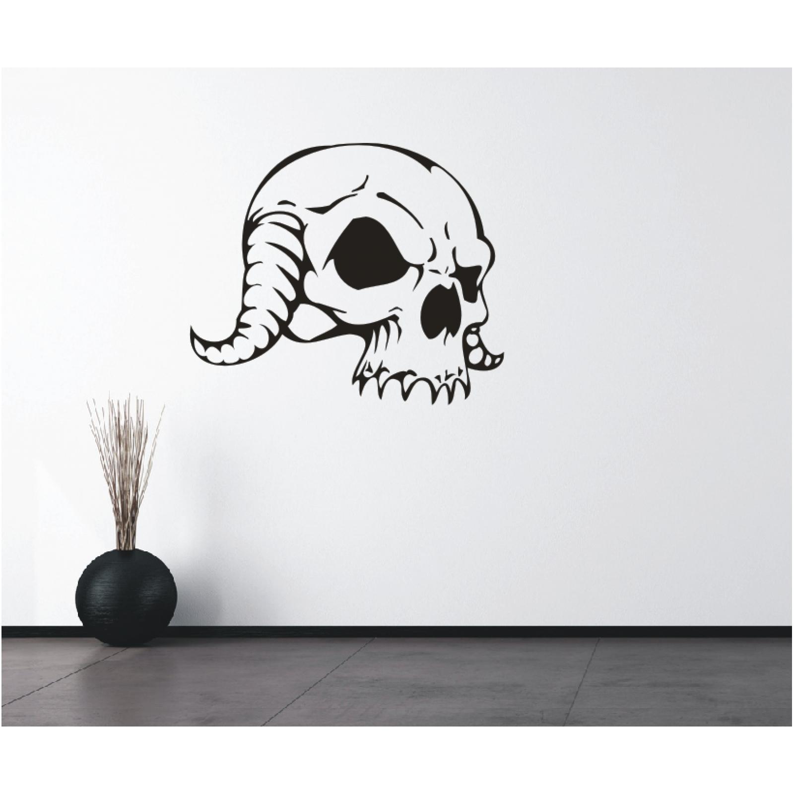 Totenkopf Wandtattoo  Horror Gruselig Schädel Wandsticker Wandbild Wanddeko3