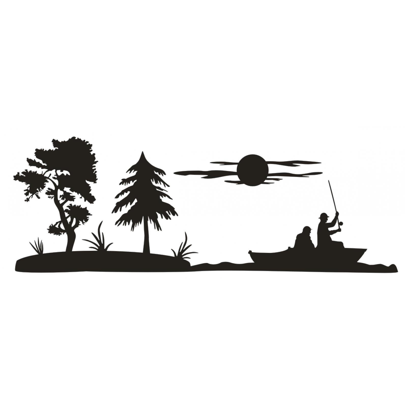 aufkleber landschaft meer angler angel fische boot fischer baum sticker folie ebay. Black Bedroom Furniture Sets. Home Design Ideas