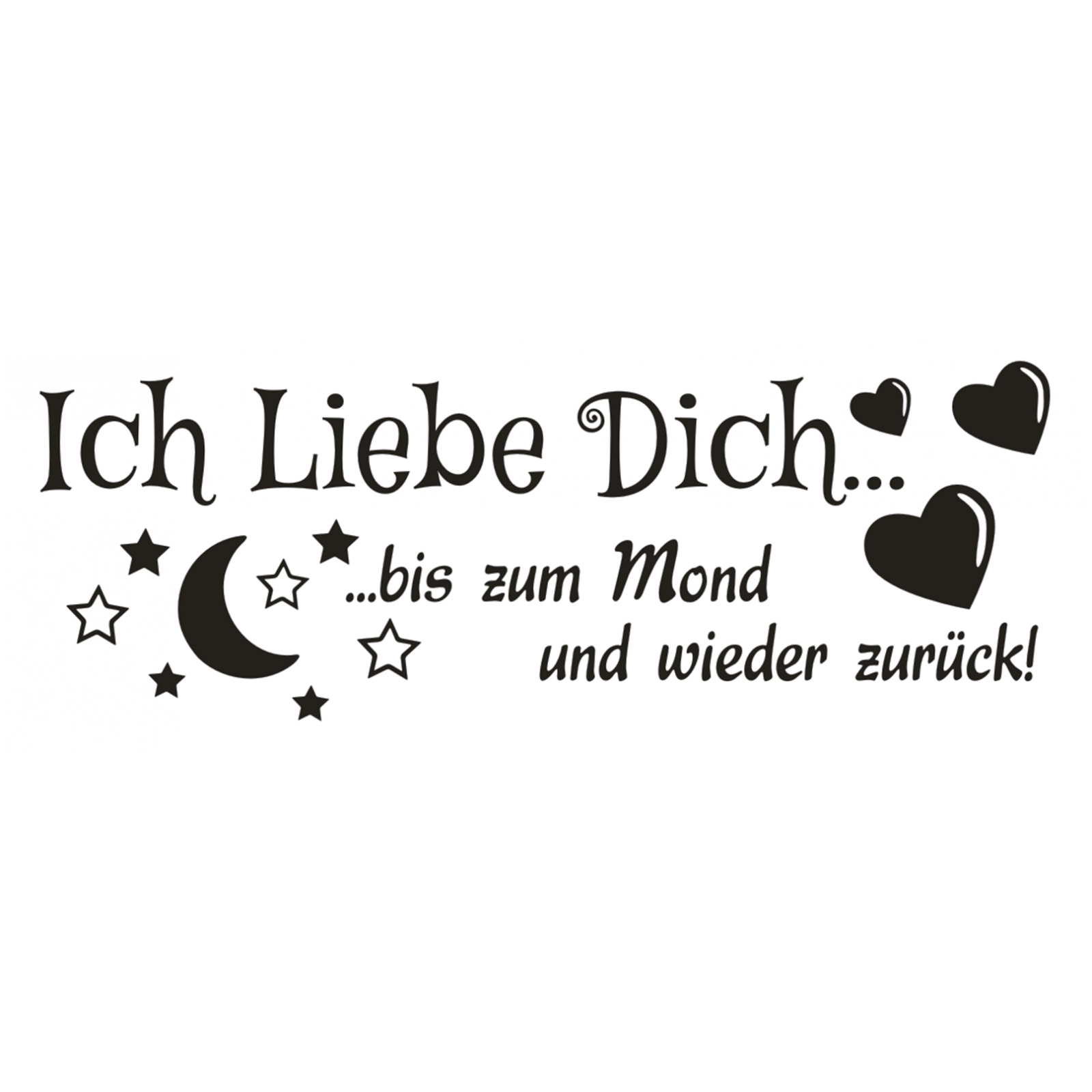 wandtattoo spruch ich liebe dich bis zum mond zur ck wandaufkleber sticker 4 ebay. Black Bedroom Furniture Sets. Home Design Ideas