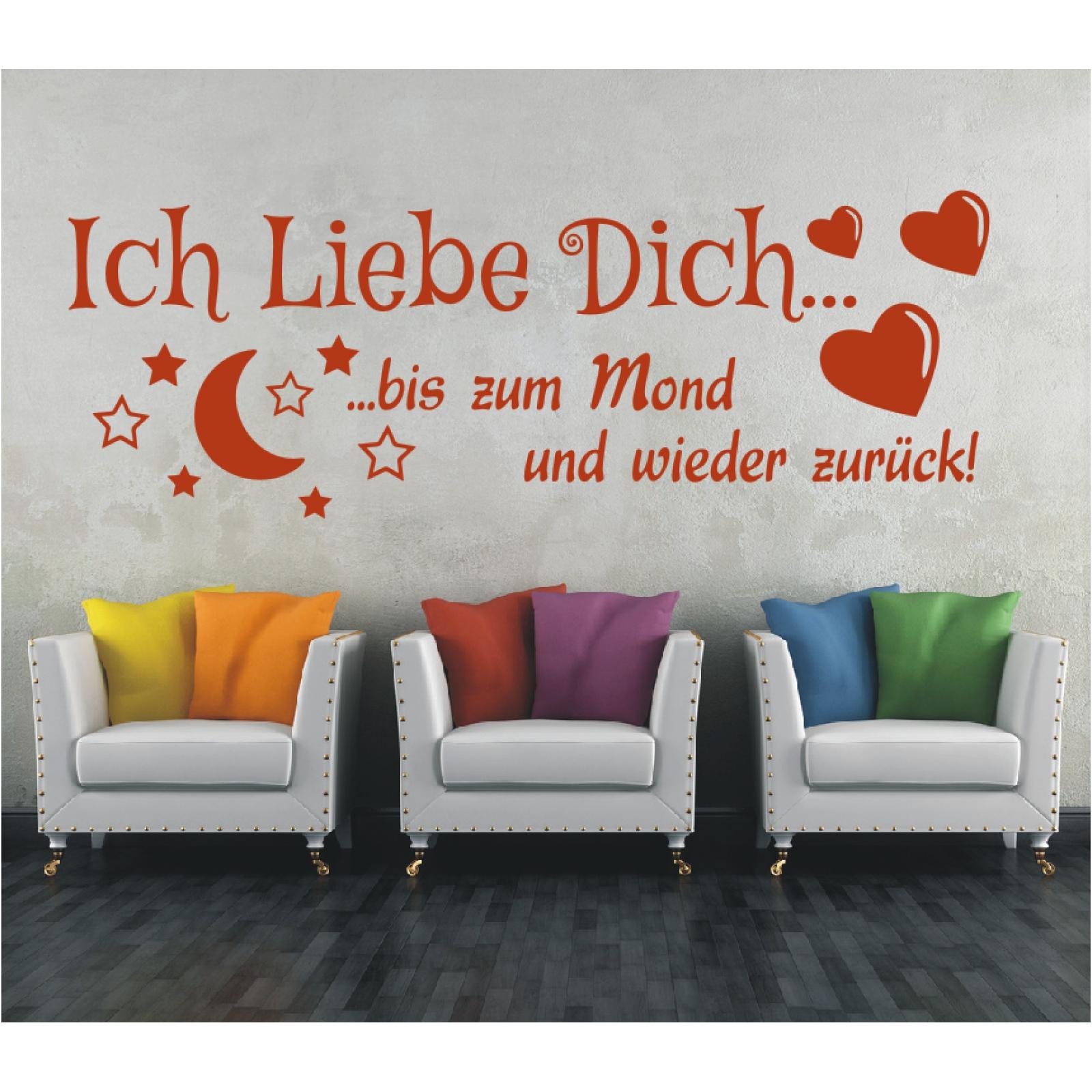 wandtattoo spruch ich liebe dich bis zum mond zur ck wandaufkleber sticker 4 ebay. Black Bedroom Furniture Sets. Home Design Ideas