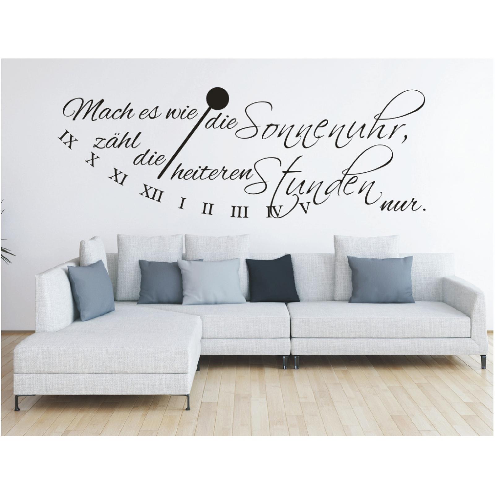wandtattoo spruch mach es wie die sonnenuhr wandsticker wandaufkleber sticker 5 ebay. Black Bedroom Furniture Sets. Home Design Ideas