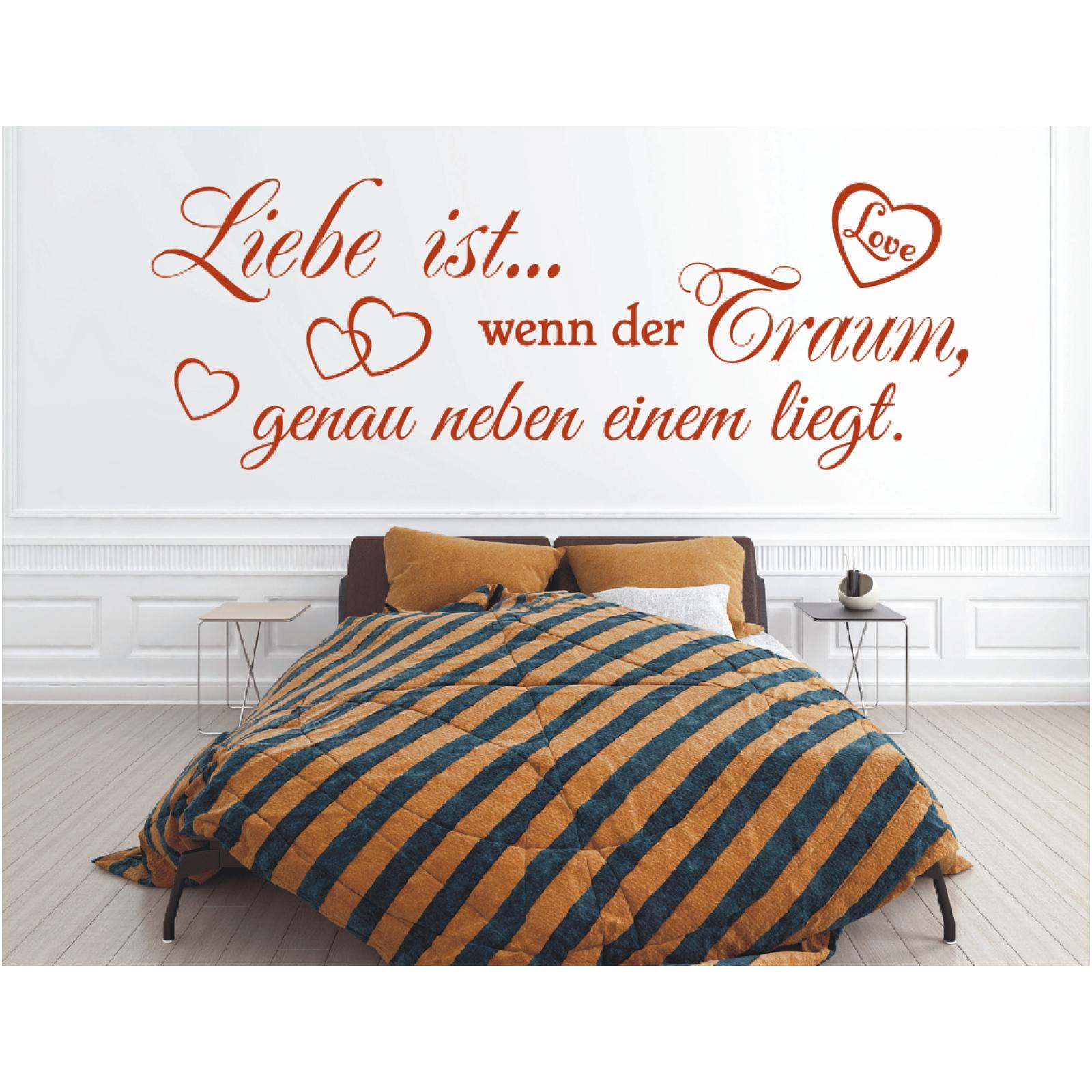 Wandtattoo Spruch Liebe ist wenn der Traum Wandsticker Wandaufkleber ...