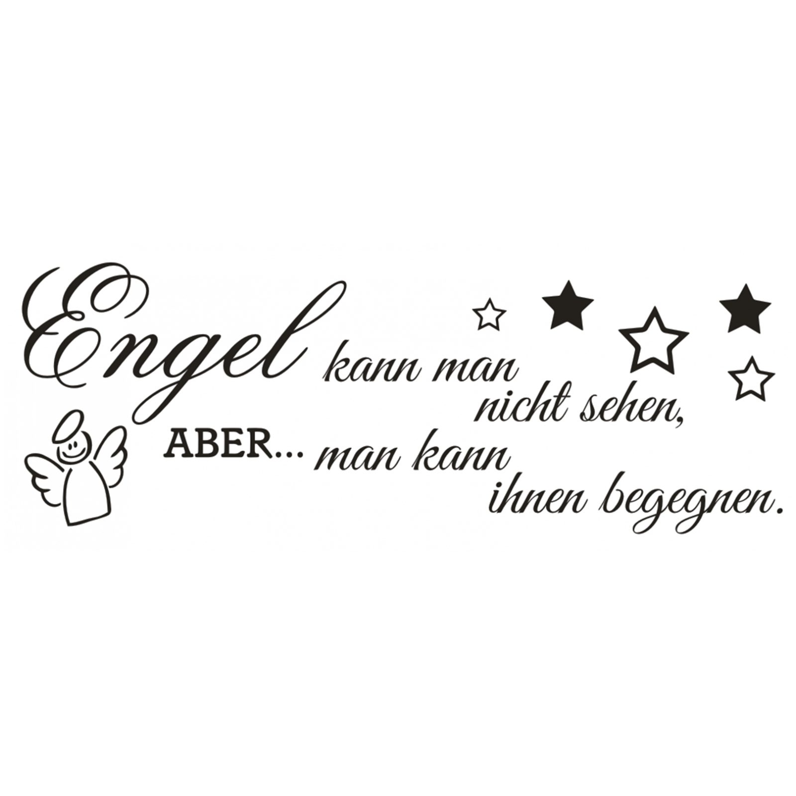 wandtattoo spruch engel kann man nicht sehen wandsticker wandaufkleber sticker 4 ebay. Black Bedroom Furniture Sets. Home Design Ideas