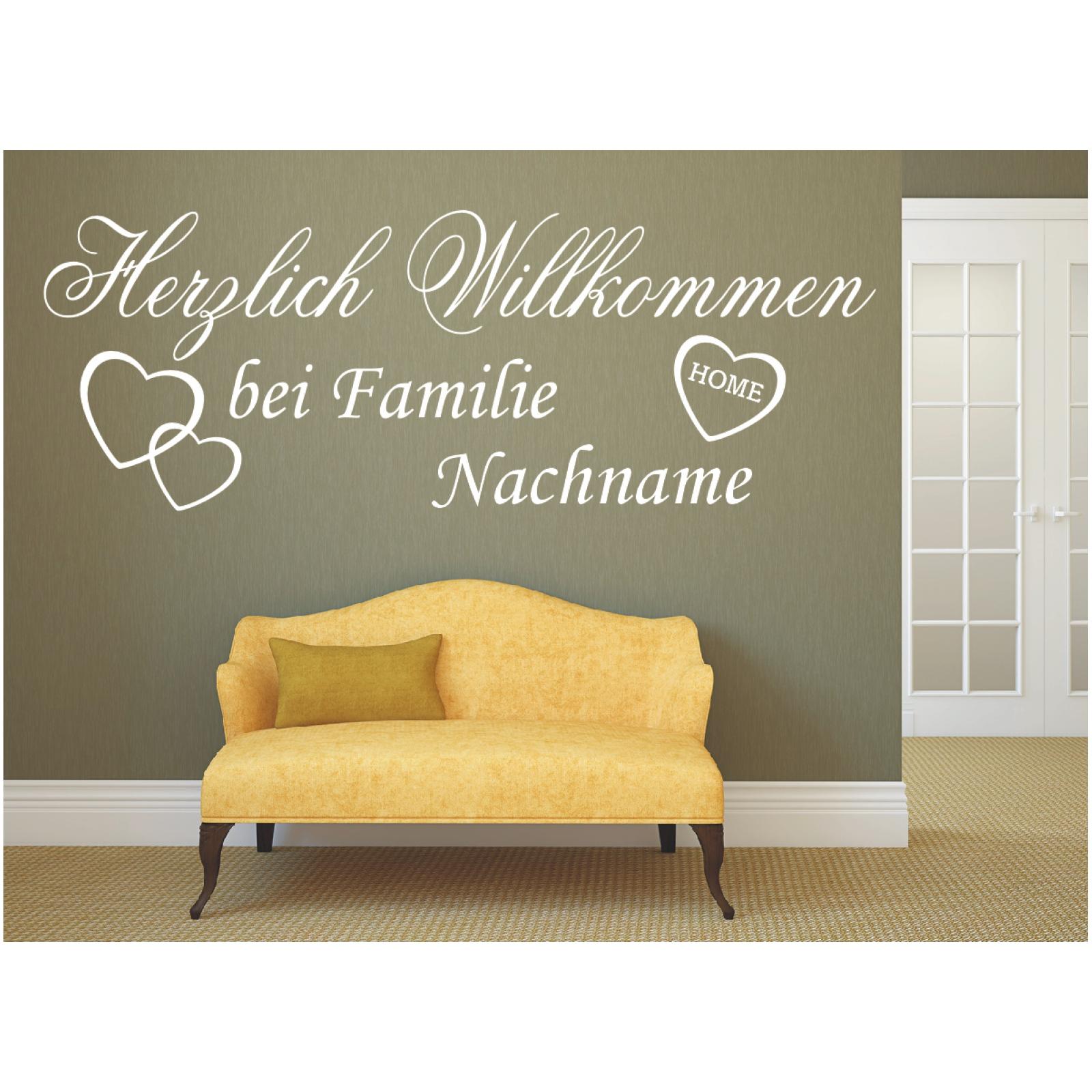 Herzlich Willkommen WANDTATTOO bei Familie Wunschname Wandaufkleber Wunschtext .