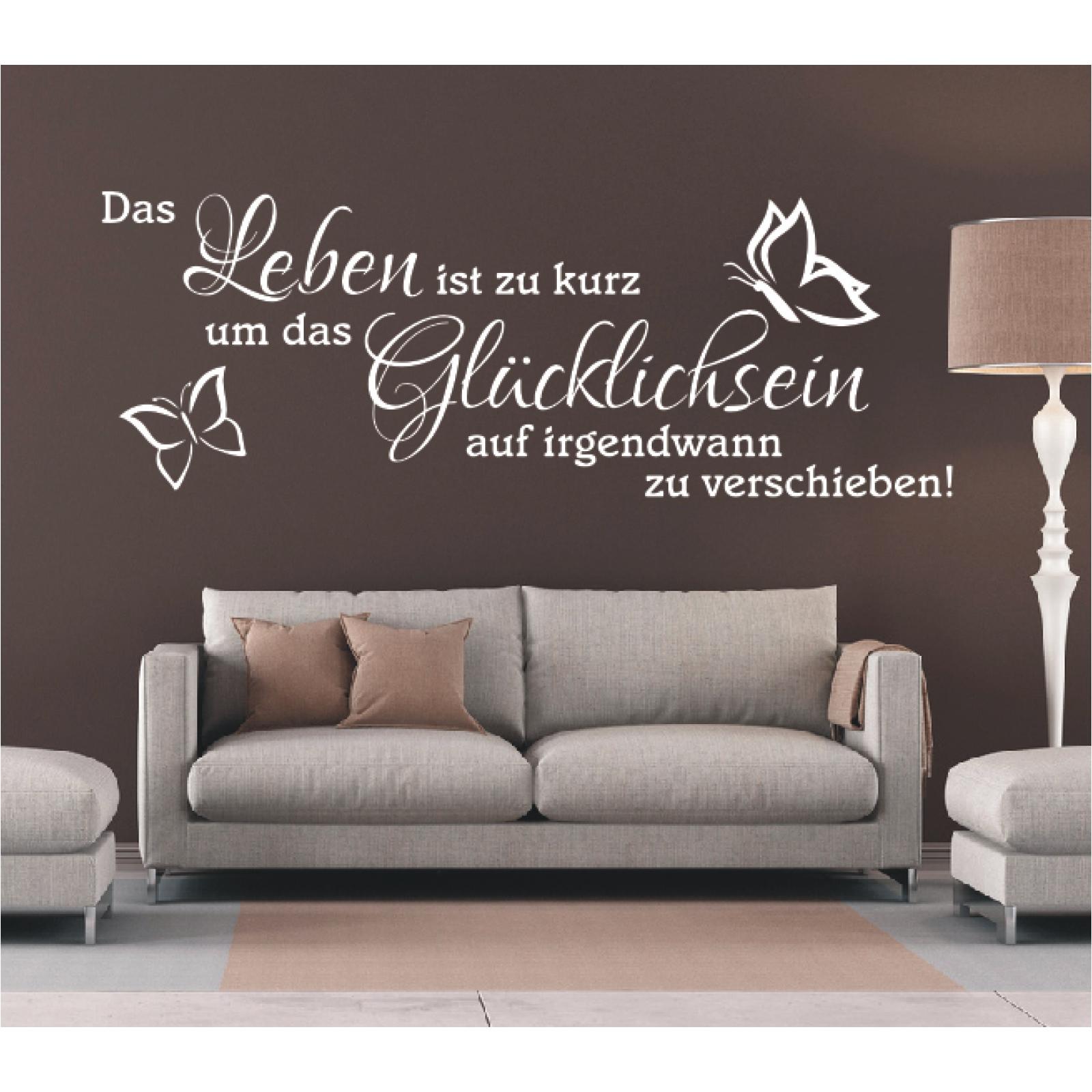 Wandtattoo-Spruch-Das-Leben-ist-zu-kurz-um-Gluecklichsein-Wandsticker-Aufkleber