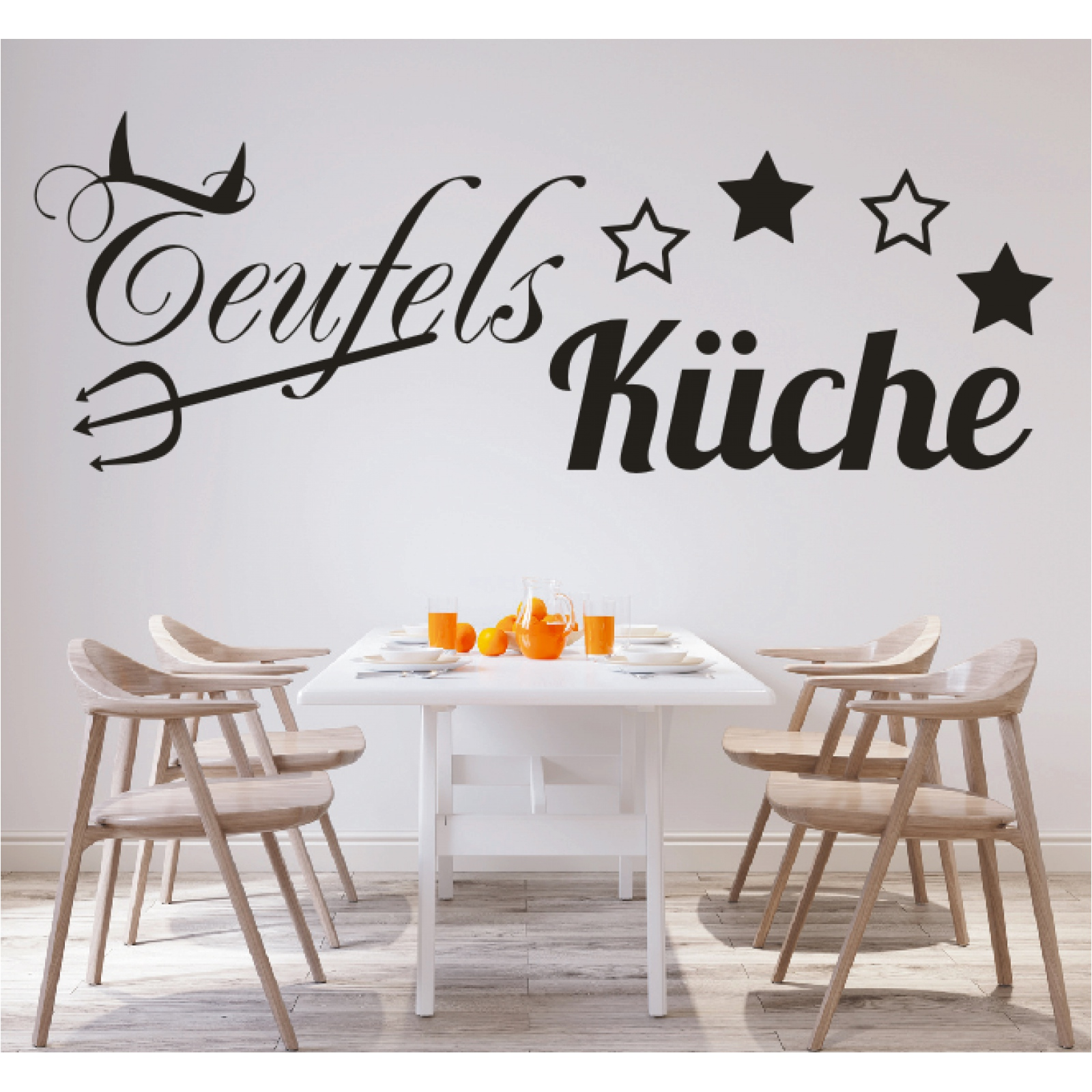 Spruch WANDTATTOO Teufels Küche Sticker Wandsticker Aufkleber Wandaufkleber