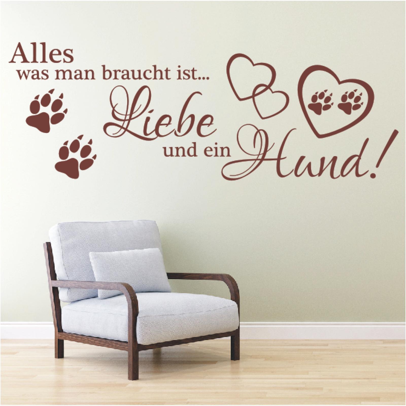 wandtattoo spruch alles was man braucht ist liebe hund wandsticker aufkleber 1 ebay. Black Bedroom Furniture Sets. Home Design Ideas