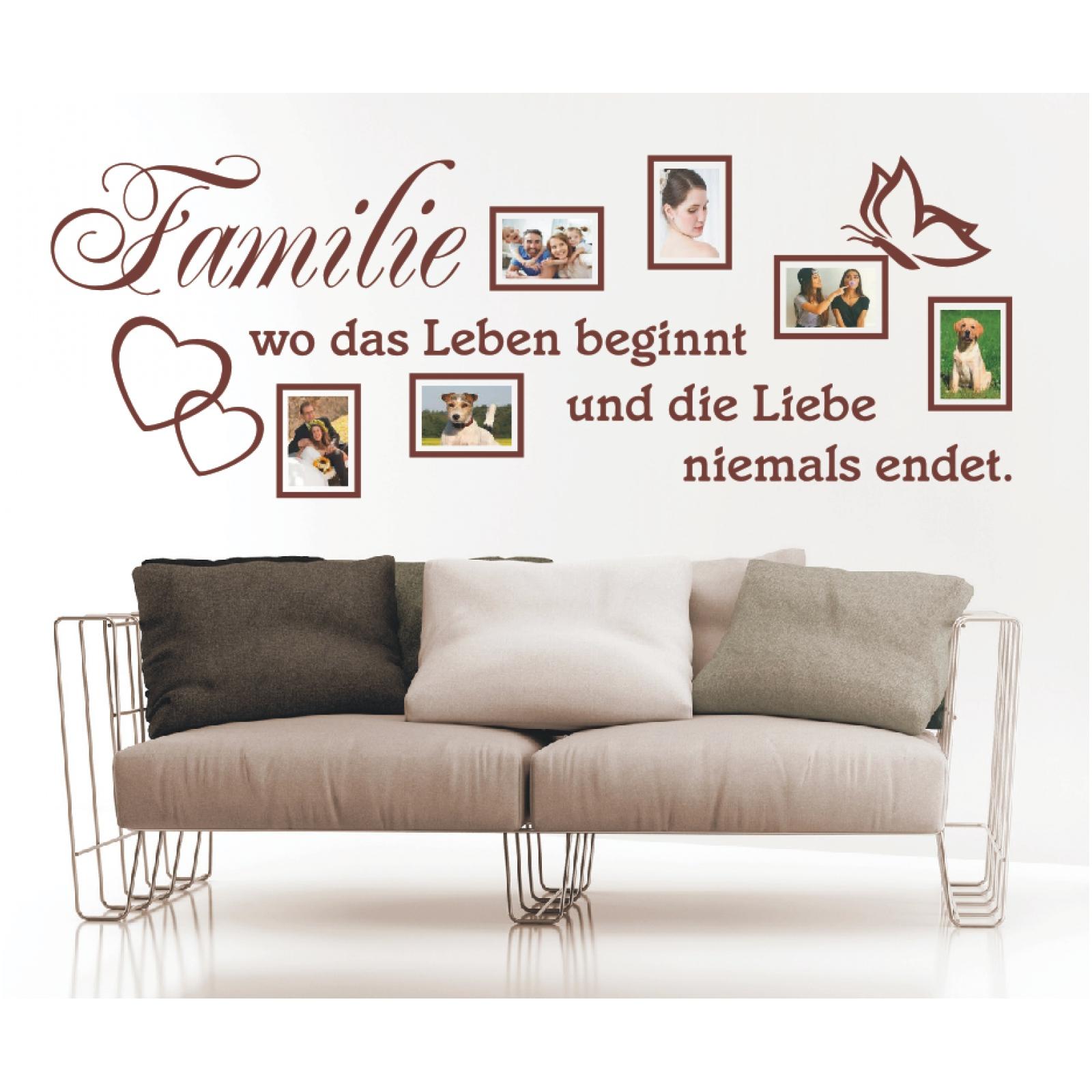 Wandtattoo Spruch Familie Leben Liebe Bilderrahmen Foto Wandsticker ...