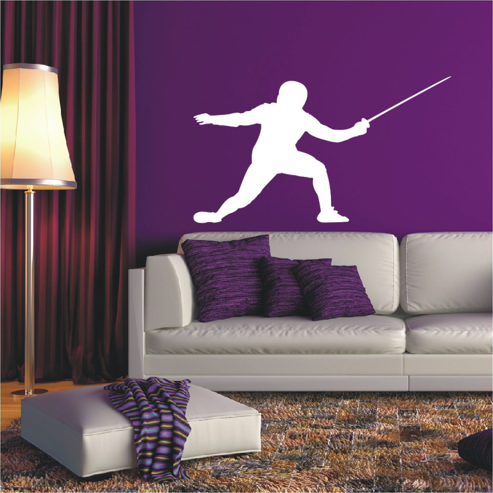 Shadow Wall Tattoo Fencing Fencer Scabbard Sports Wall Decal Sticker ...